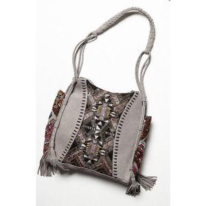 Free People tapestry tassel boho beaded purse bag
